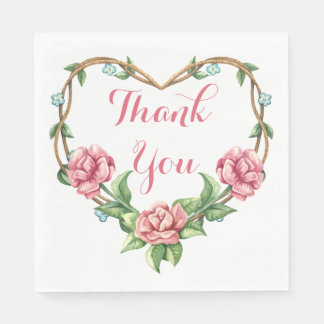Pink Rose Thank You Floral Watercolor Heart Paper Napkin