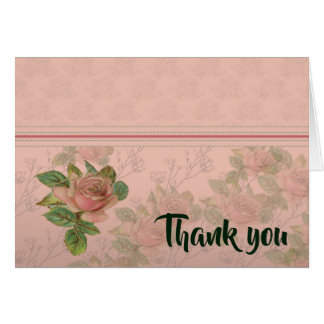 Pink Rose Thank You Note Card