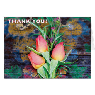 Pink Rose Trio, thank you - Note Card