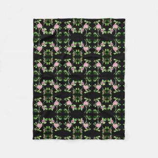 Pink Rose Vine on Black Background Blanket