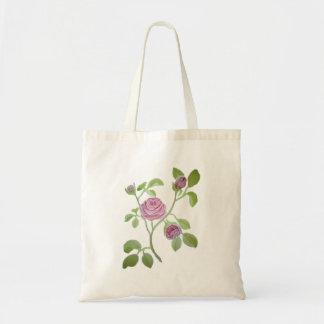 Pink Rose Vine Tote Bag