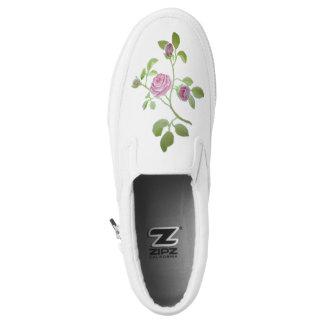 Pink Rose Vine White Shoes