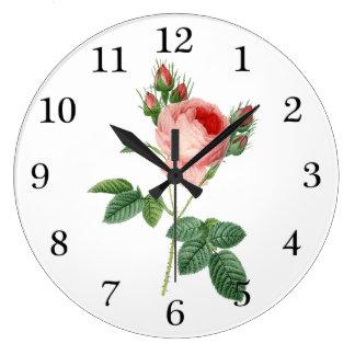Pink rose vintage botanical illustration large clock