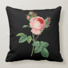 Pink rose vintage botanical illustration on black throw pillow