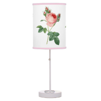 Pink rose vintage botanical illustration table lamp