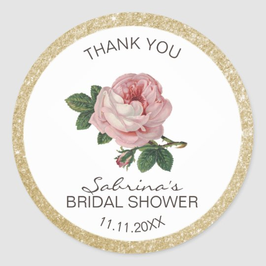 Pink Rose Vintage Gold Bridal Shower Thank You Classic Round Sticker