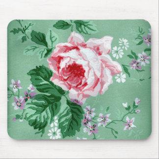 Pink Rose Vintage Wallpaper Mousepad
