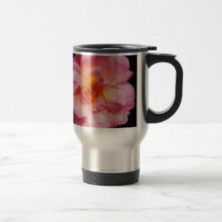 Pink Rose w Dew Drops Black Background Coffee Mug