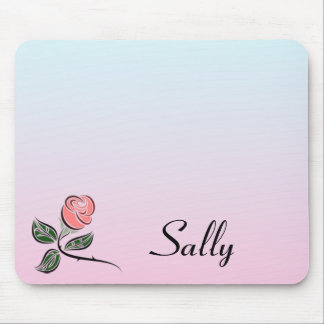 Pink Rose w/Pink and Blue Gradient Colors Mouse Pad