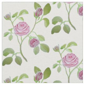 Pink Rose Watercolor Fabric