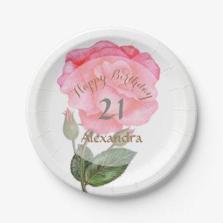 Pink Rose Watercolor Illustration Floral Art Paper Plate