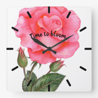 Pink Rose Watercolor Illustration Floral Art Square Wall Clock