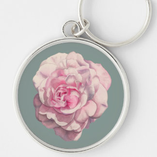 Pink Rose Watercolor Illustration Keychain