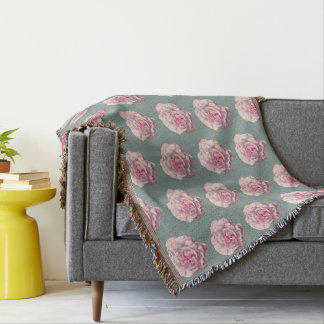 Pink Rose Watercolor Illustration Throw Blanket
