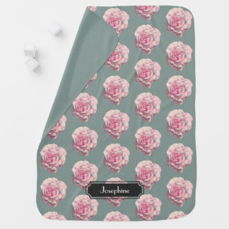 Pink Rose Watercolor Illustration with Baby Name Baby Blanket