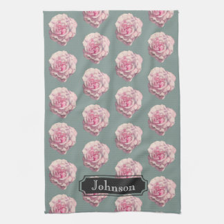 Pink Rose Watercolor Illustration with Family Name Kitchen Towel