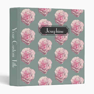 Pink Rose Watercolor Illustration with Name 3 Ring Binder