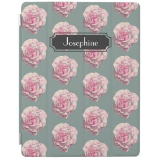 Pink Rose Watercolor Illustration with Name iPad Cover