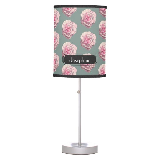 Pink Rose Watercolor Illustration with Name Table Lamp