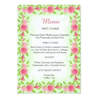 Pink Rose Wedding Menu Card