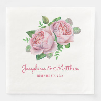 Pink Rose Wedding Paper Dinner Napkin