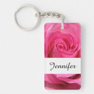 Pink Rose Wedding Photo Double-Sided Rectangular Acrylic Keychain
