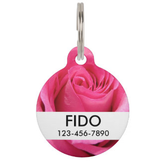 Pink Rose Wedding Photo Pet ID Tag
