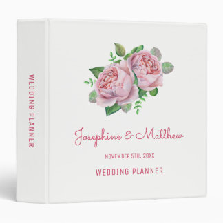 Pink Rose Wedding Planner 3 Ring Binders