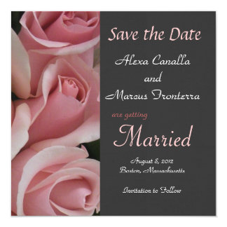 Pink Rose Wedding Save the Date Announcement Card