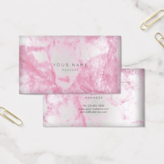 Pink Rose White Gray Marble Vip Appointment Silver Business Card
