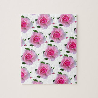 Pink Rose White Jigsaw Puzzle
