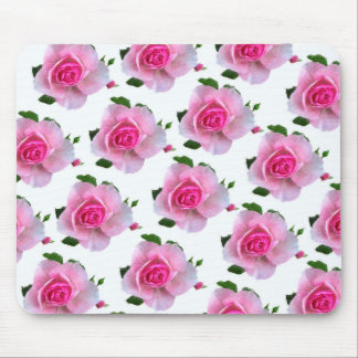 Pink Rose White Mouse Pad