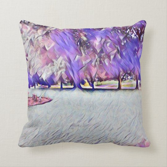 Pink Rose White Painted Landscape Throw Pillow