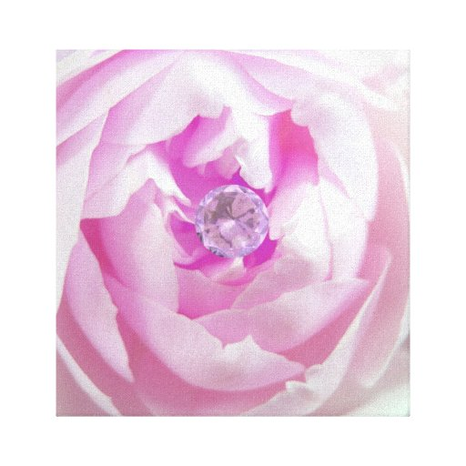 Pink Rose with Diamond Center Wrapped Canvas Gallery Wrap Canvas