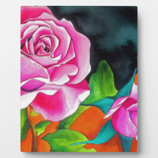 Pink Rose with orange watercolor art Plaque