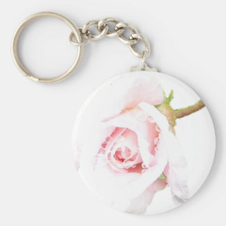 Pink Rose with rain drops Keychains