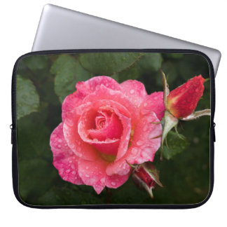 Pink Rose with Raindrops Laptop Sleeve