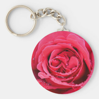 Pink Rose with Water Droplets Basic Round Button Keychain