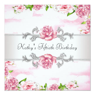 Pink Rose Womans 50th Birthday Party Card