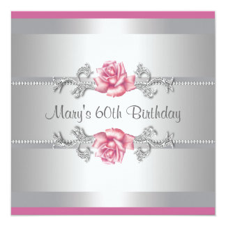 """Pink Rose Womans Birthday Party 5.25"""" Square Invitation Card"""