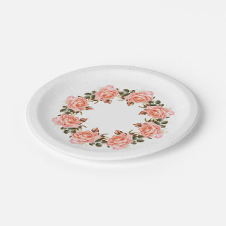 Pink Rose Wreath 7 Inch Paper Plate