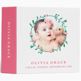 Pink Rose Wreath   Baby Photo & Name Vinyl Binder