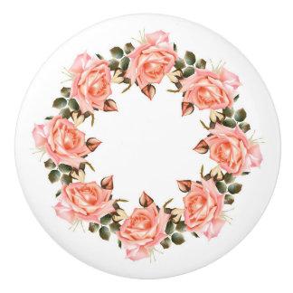 Pink Rose Wreath Ceramic Knob