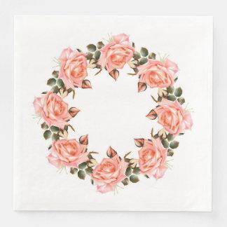 Pink Rose Wreath Dinner Paper Napkins