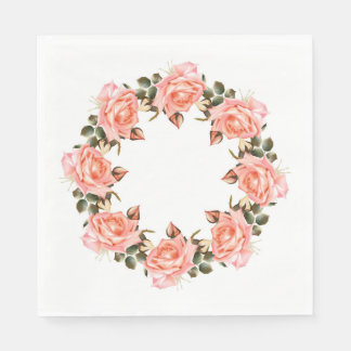 Pink Rose Wreath Luncheon Paper Napkins