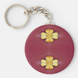 Pink Rose Yellow Modern Simplistic Pattern Keychain