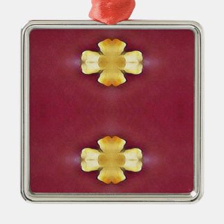 Pink Rose Yellow Modern Simplistic Pattern Metal Ornament