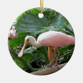 Pink Roseate Spoonbill Bird Ceramic Ornament