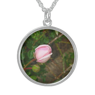 Pink Rosebud Charm Sterling Silver Necklace