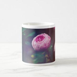 Pink Rosebud, Glowing Blue, Floral Photograph Mug